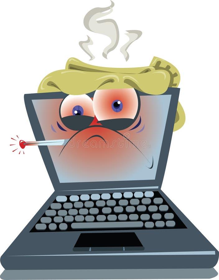 Computadora portátil enferma stock de ilustración