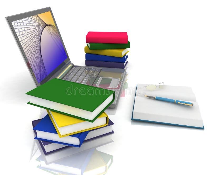 Computadora portátil, libros y otros herramientas ilustración del vector