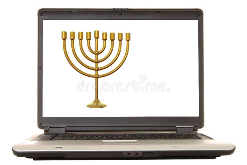 Computadora portátil Menorah stock de ilustración