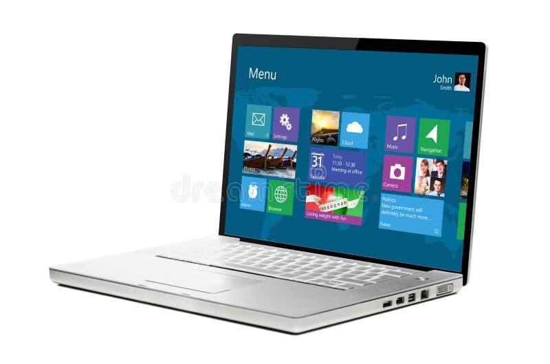 Computadora portátil moderna en blanco imagenes de archivo