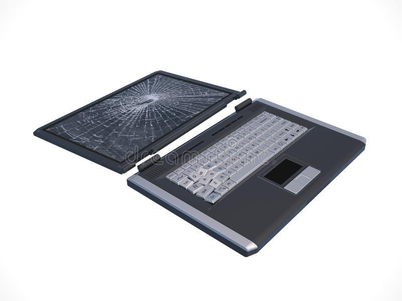 Computadora portátil quebrada imagen de archivo