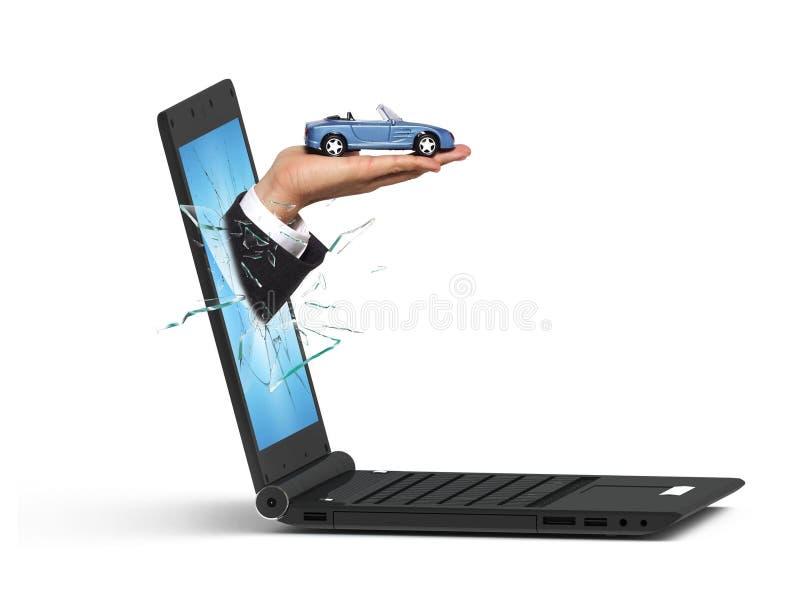 Computadora portátil y coche imagenes de archivo