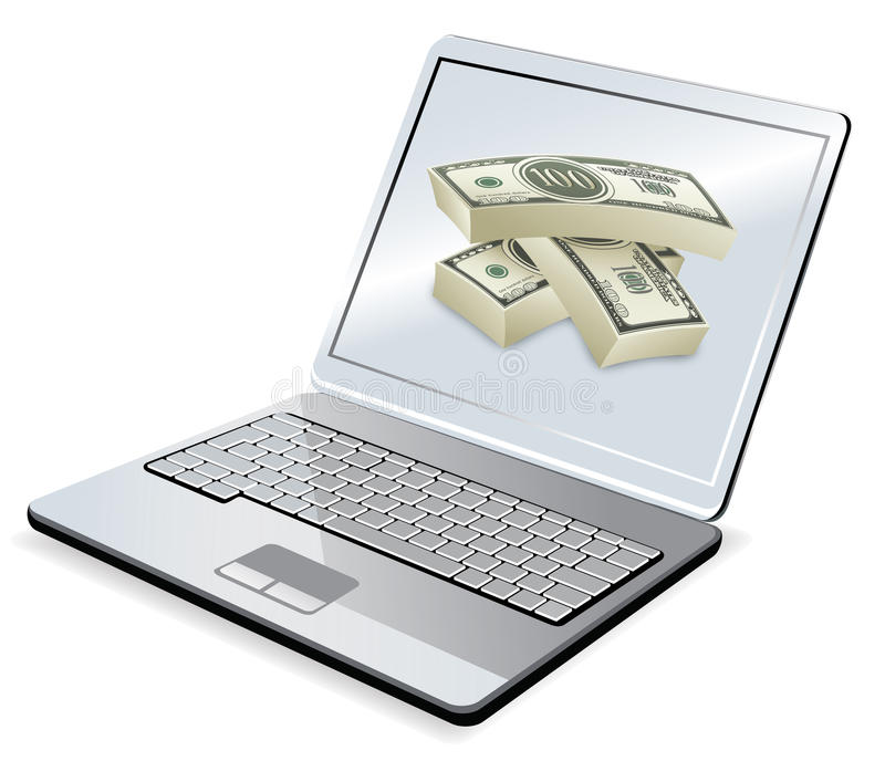 Computadora portátil y dinero ilustración del vector