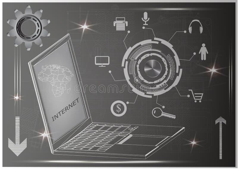 Computadora portátil y engranaje stock de ilustración