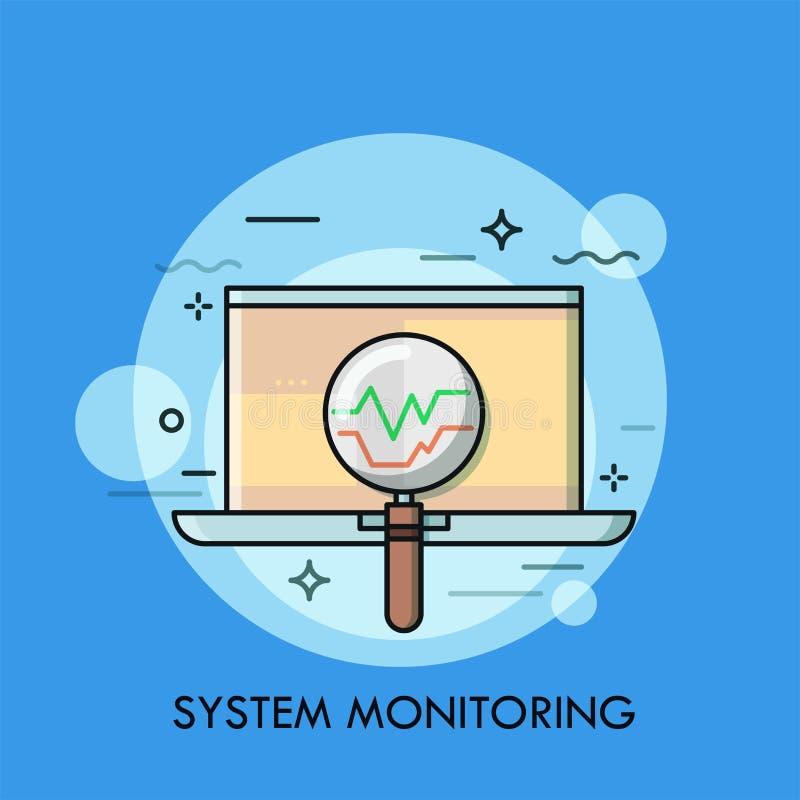 Computadora portátil y lupa Concepto de la supervisión del sistema operativo, del control de datos del ordenador, búsqueda para e libre illustration