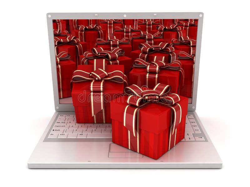 Computadora portátil y muchos regalos ilustración del vector