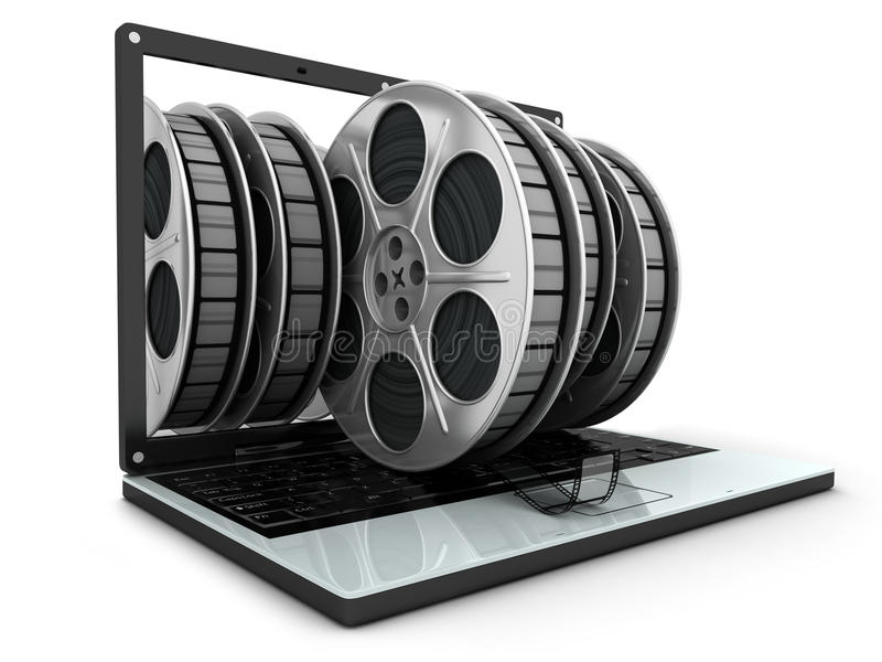 Computadora portátil y películas libre illustration