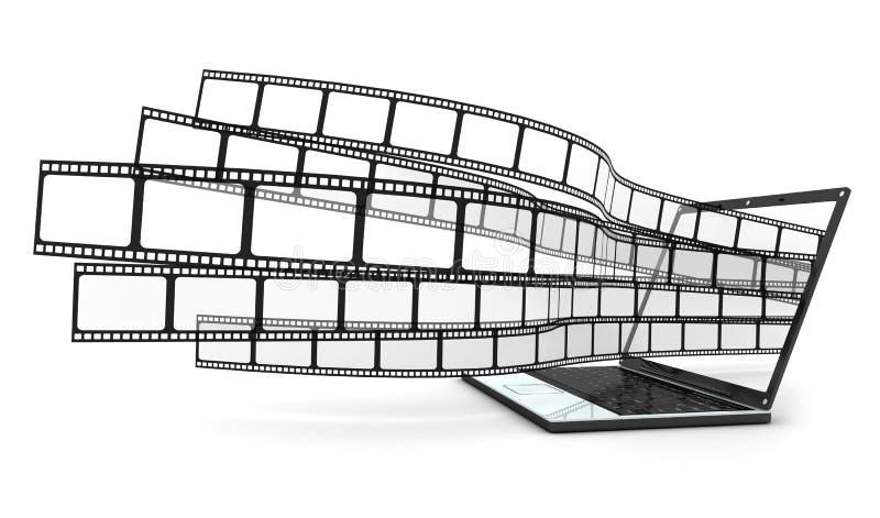 Computadora portátil y películas ilustración del vector