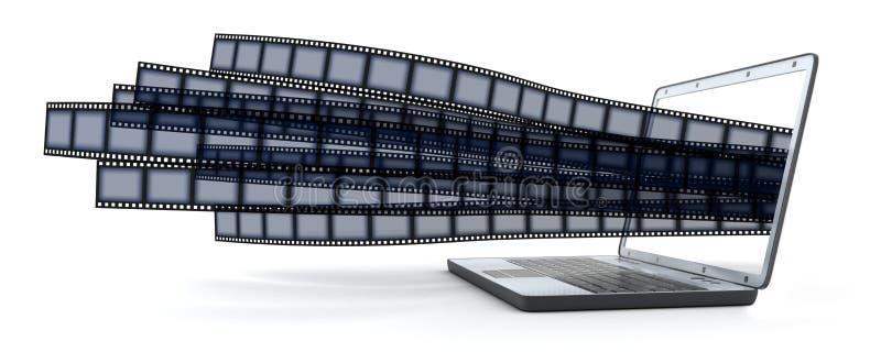 Computadora portátil y películas stock de ilustración