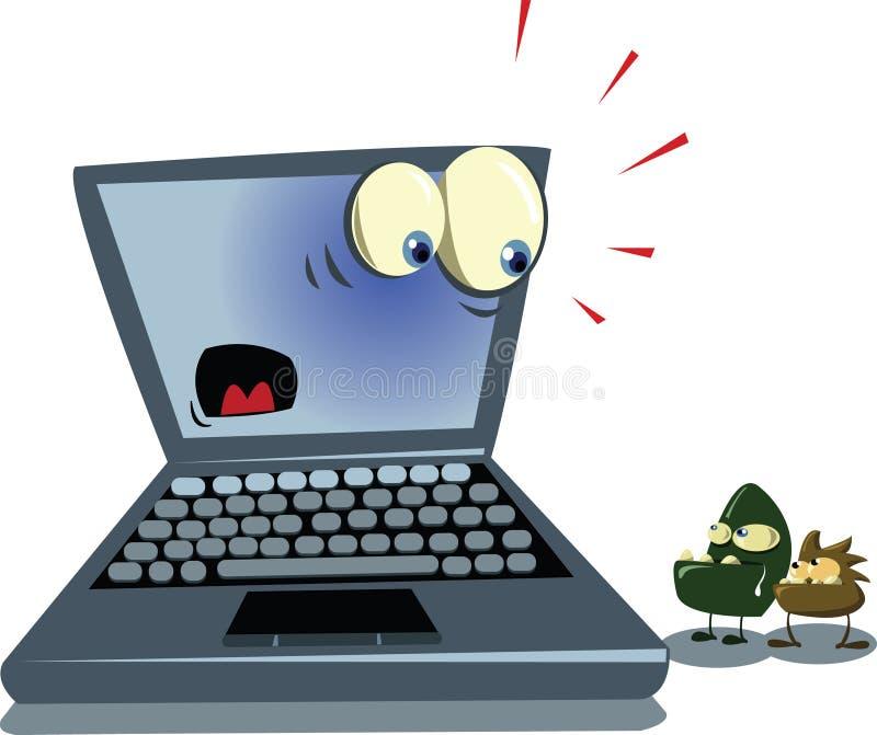 Computadora portátil y virus stock de ilustración