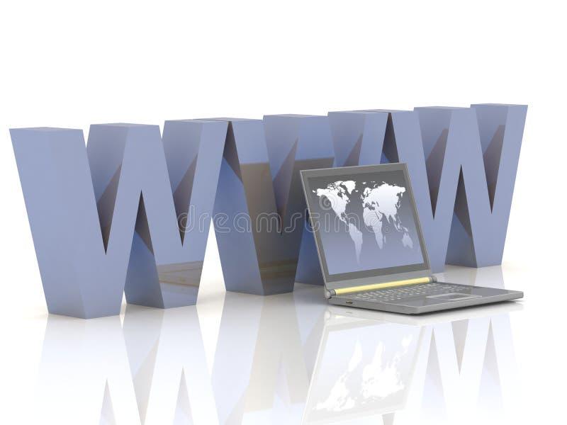 Computadora portátil y WWW ilustración del vector