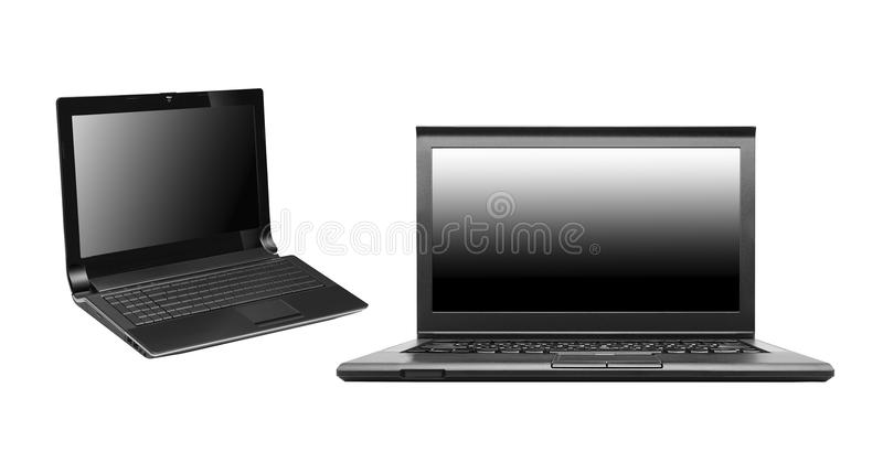 Computadoras portátiles aisladas en blanco imagen de archivo