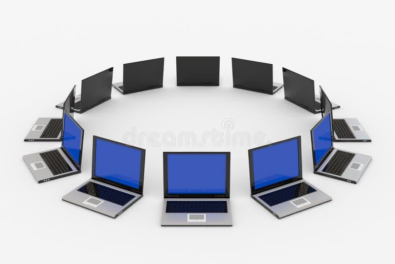 Computadoras portátiles alrededor del? stock de ilustración