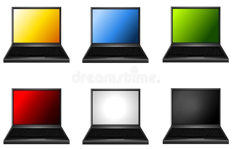 Computadoras portátiles clasificadas con las pantallas coloreadas libre illustration