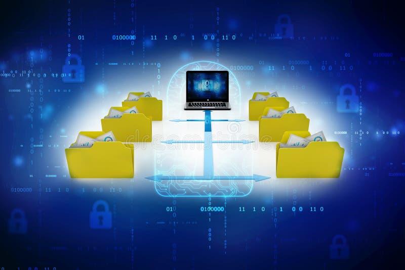 Computadores com transferência do arquivo, do dobrador ou dos documentos 3d rendem ilustração royalty free
