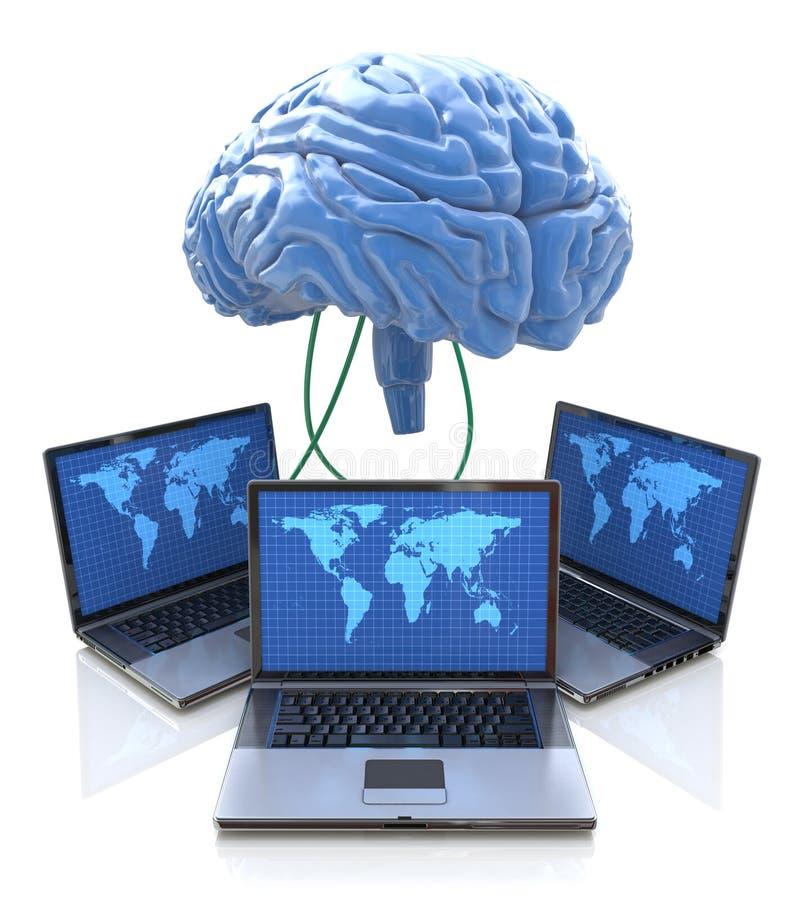 Computadores conectados ao cérebro central ilustração royalty free