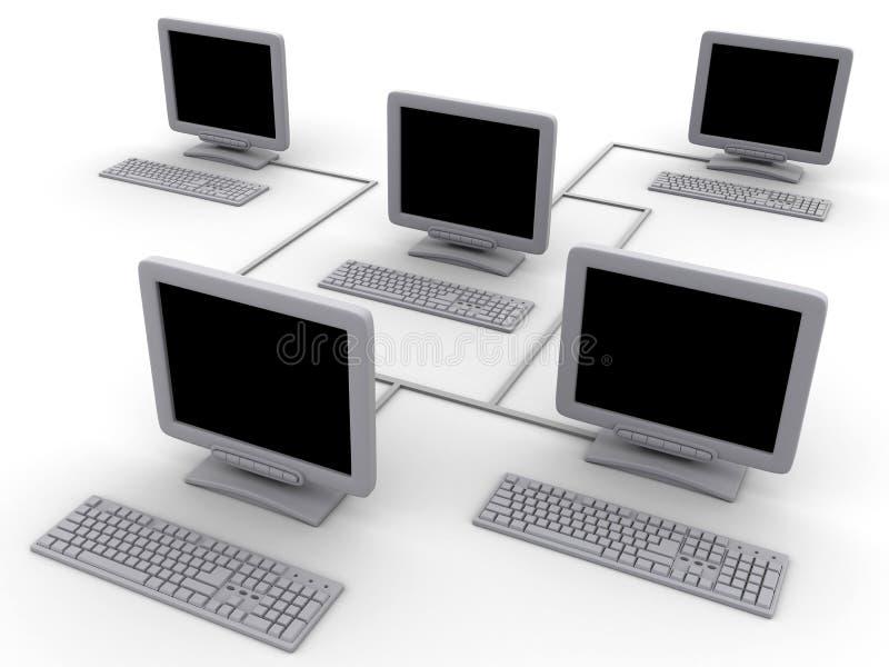 Computadores de rede ilustração royalty free