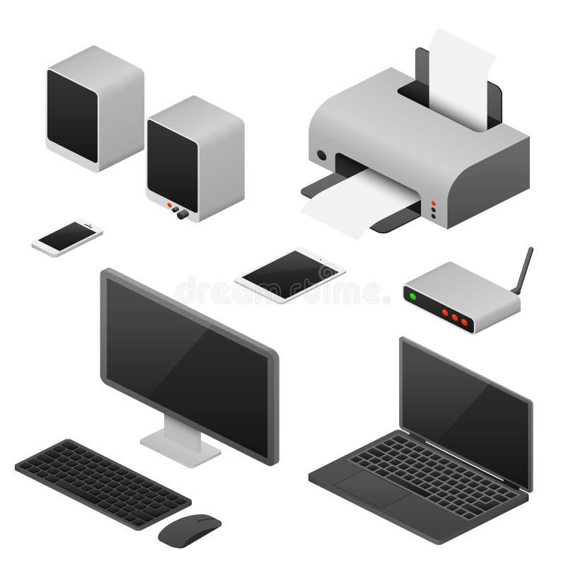 Computadores de vetor isométricos da estação de trabalho de Digitas, fontes do espaço de trabalho do escritório ilustração stock