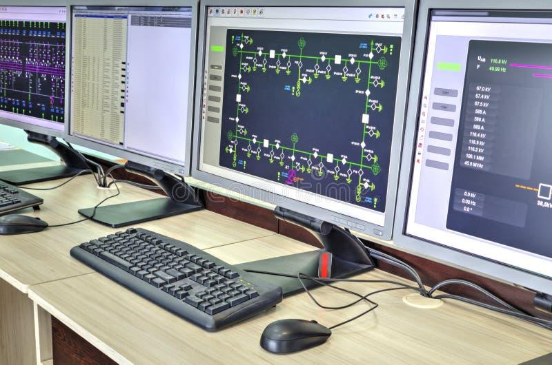 Computadores e monitores com diagrama esquemático para supervisório, o controle e o por aquisição de dados