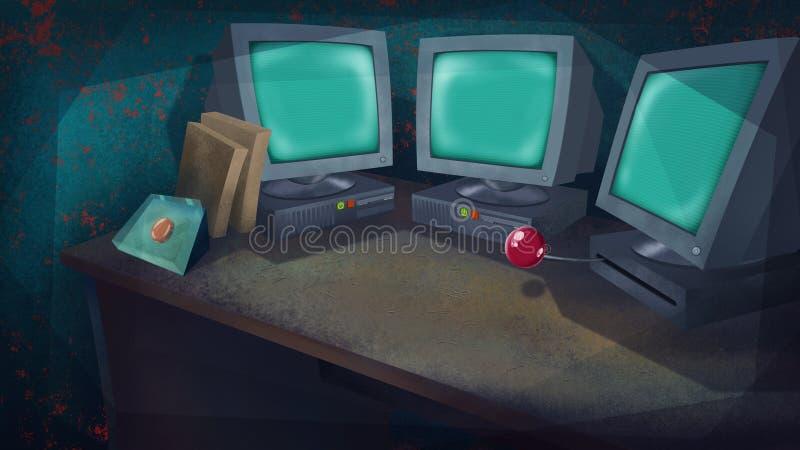 Computadores e um botão vermelho em uma tabela ilustração royalty free