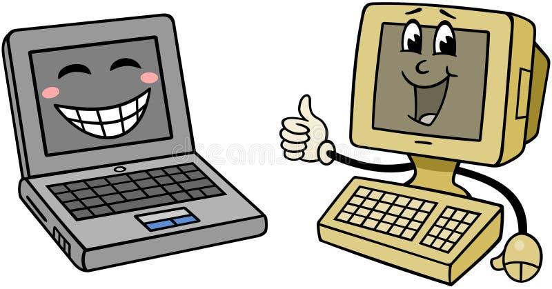 Computadores felizes ilustração stock