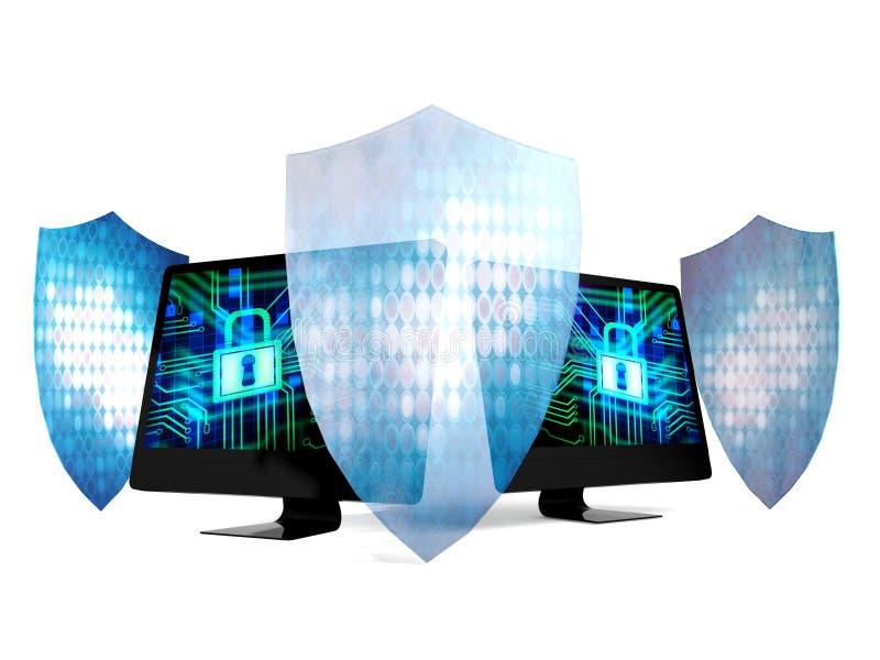 Computadores pessoais protegidos pelos protetores do sistema e da tecnologia de segurança ilustração do vetor
