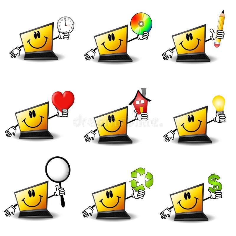 Computadores portáteis dos desenhos animados ilustração royalty free