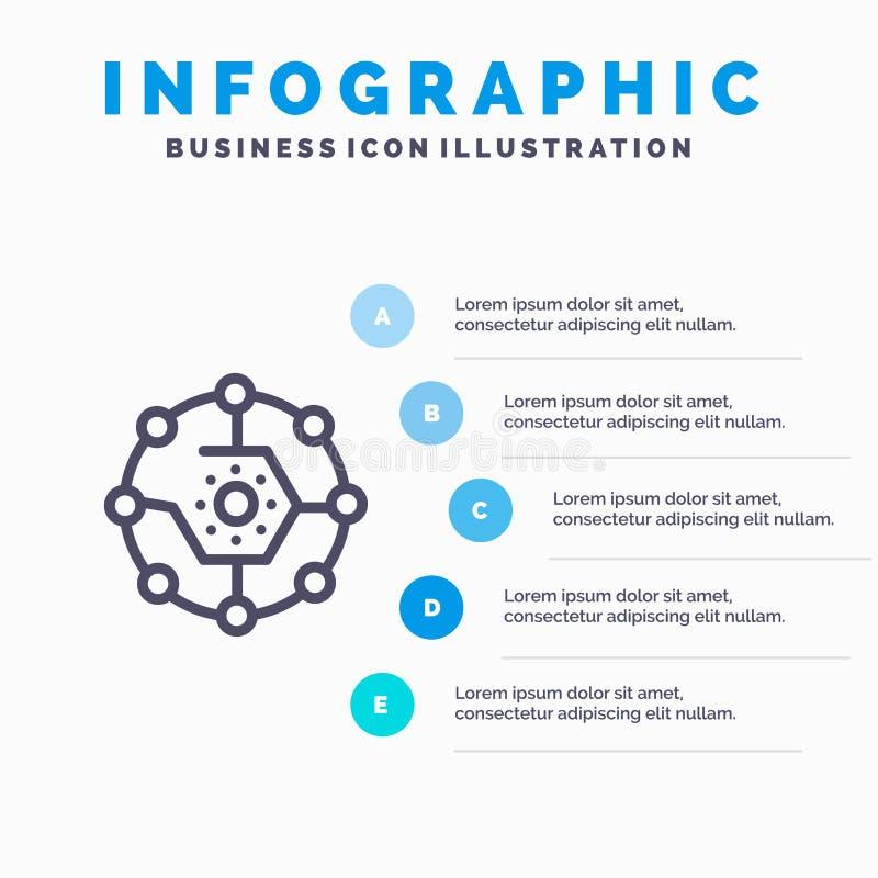 Computando, parte computacional, conectividad, red, pasos azules de la plantilla 5 de Infographics de la parte L?nea plantilla de ilustración del vector