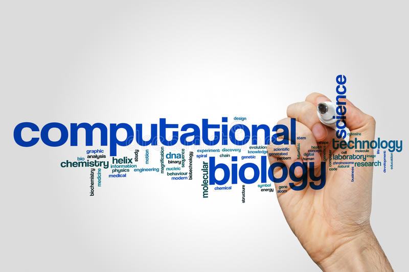 Computational biology word cloud royalty free stock image