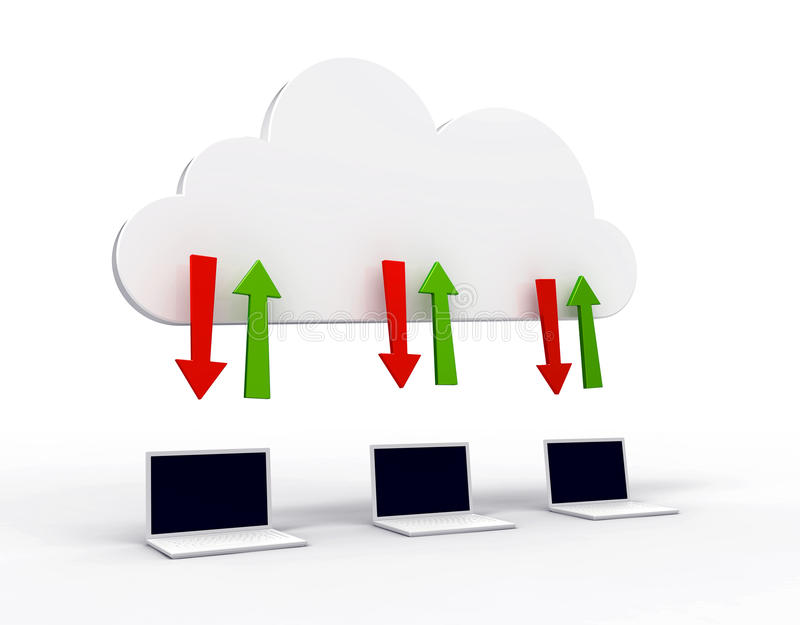 Computazione della nube illustrazione di stock