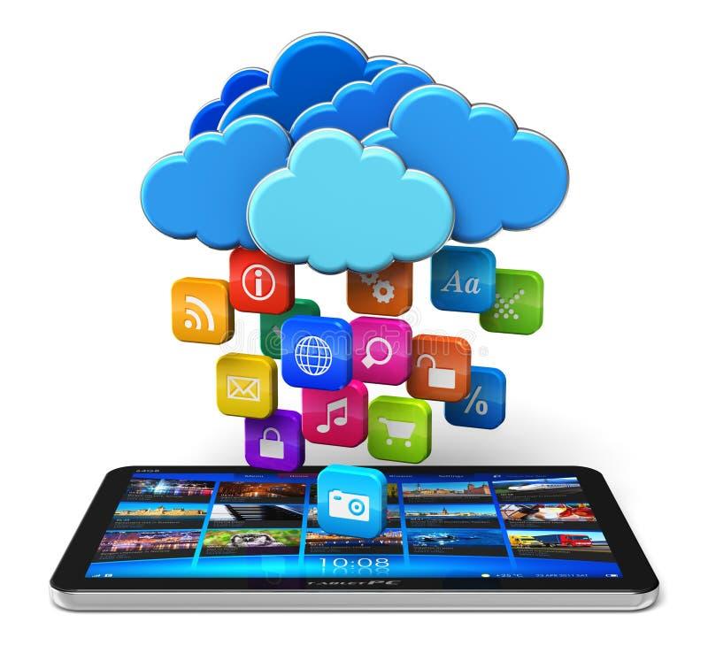 Computazione della nube e concetto di mobilità illustrazione di stock