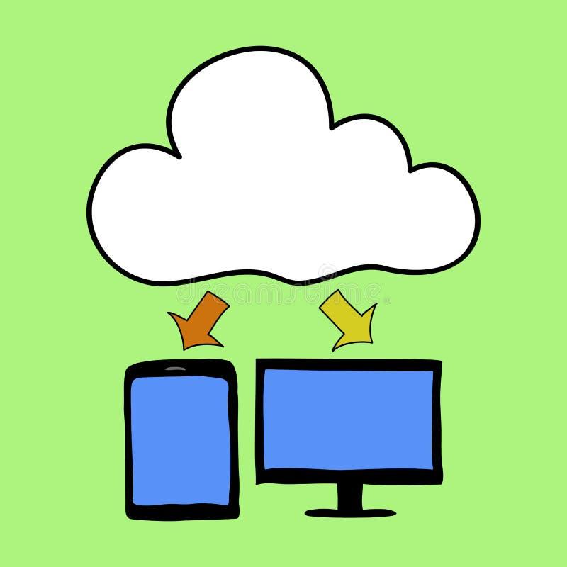 Computazione della nuvola di stile del fumetto illustrazione di stock