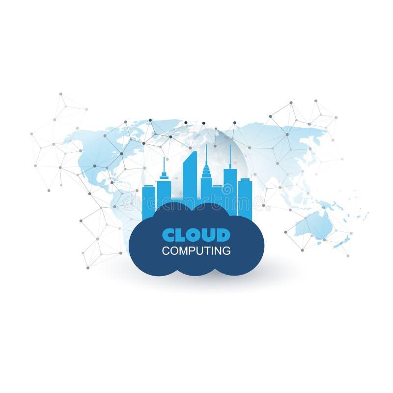 Computazione della nuvola e concetto di progetto astuto della città - connessioni di rete globali di Digital, fondo di tecnologia illustrazione di stock
