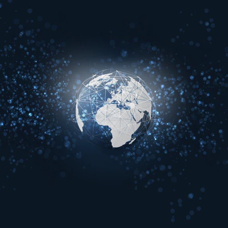Computazione della nuvola e reti con il globo - connessioni di rete globali astratte di Digital - fondo moderno di tecnologia di  illustrazione di stock