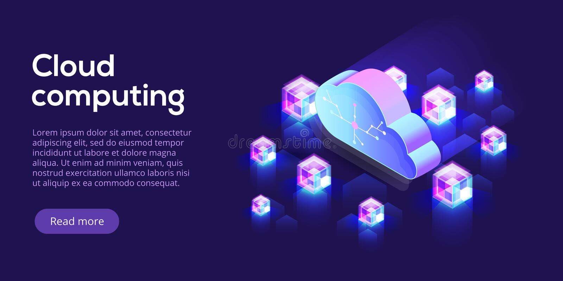 Computazione della nuvola o illustrazione isometrica di vettore di stoccaggio hos 3d royalty illustrazione gratis