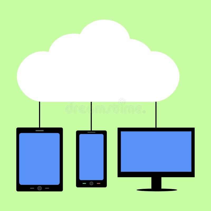 Computazione piana della nuvola di stile illustrazione vettoriale