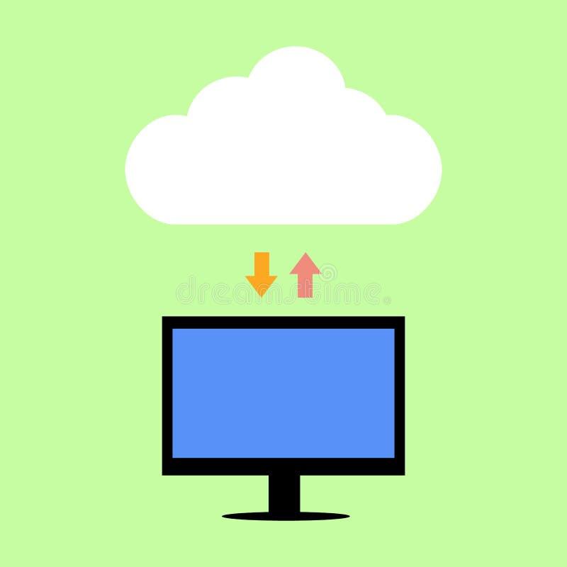 Computazione piana della nuvola di stile royalty illustrazione gratis