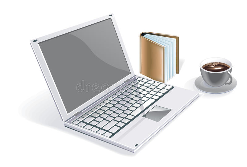 Computer. Notebook, executive notebook, lifestyle, technology,  for people, notebook with agenda and a cup of coffee, notebook for people vector illustration
