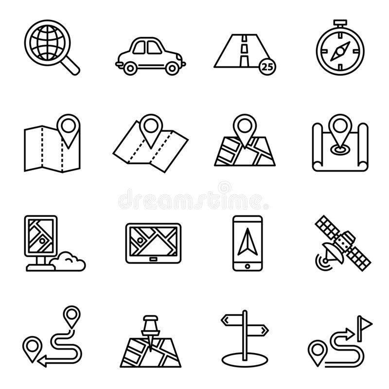 Maps, location and navigation icon set with white background. Thin line style stock vector. stock illustration