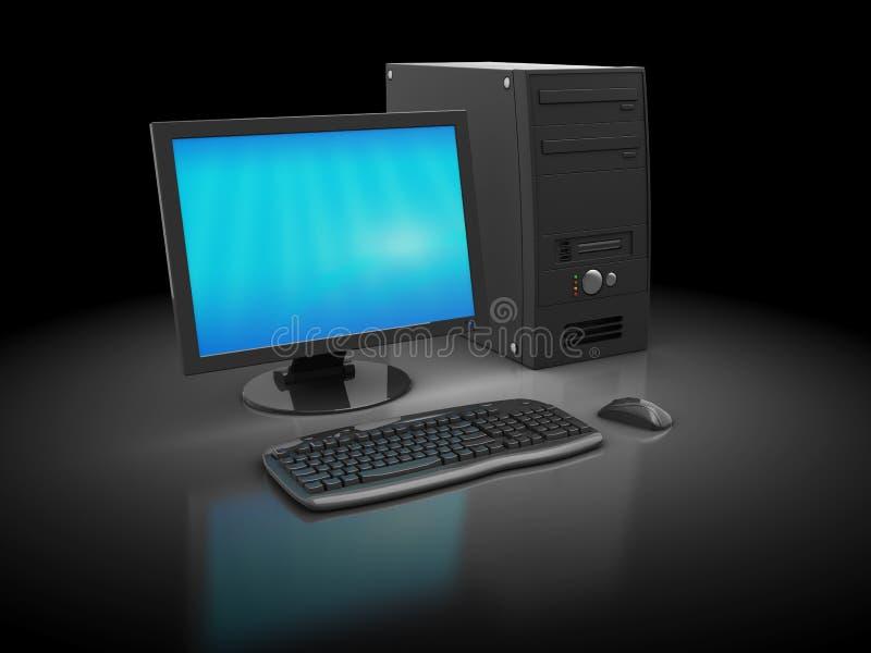 Computer. 3d illustratin of desktop computer over dark background stock illustration