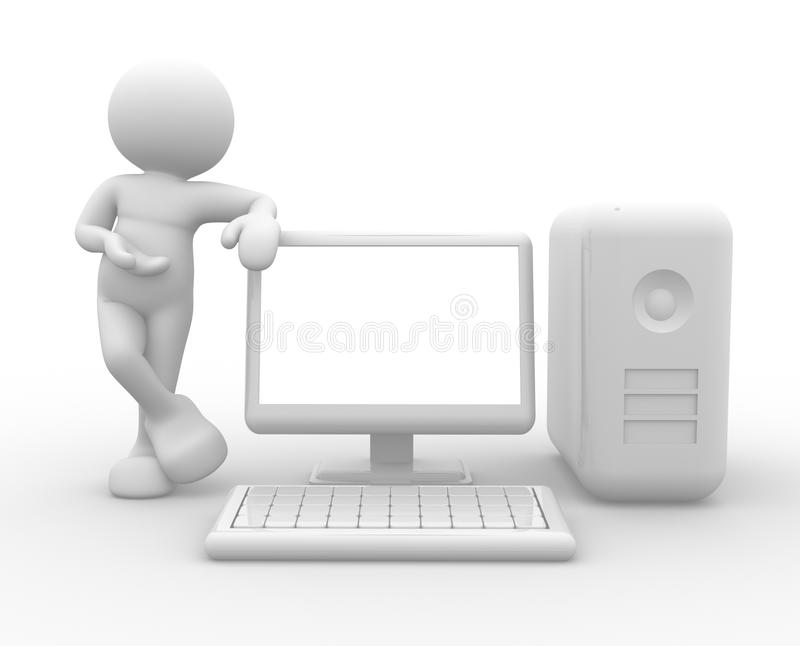 Computer. 3d people - human character , person supported by a computer. 3d render vector illustration