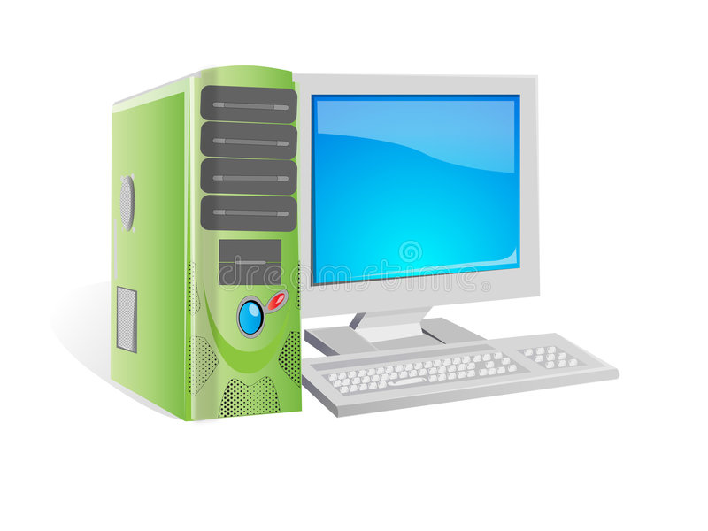 Computer. A desktop personal computer with crt monitor royalty free illustration
