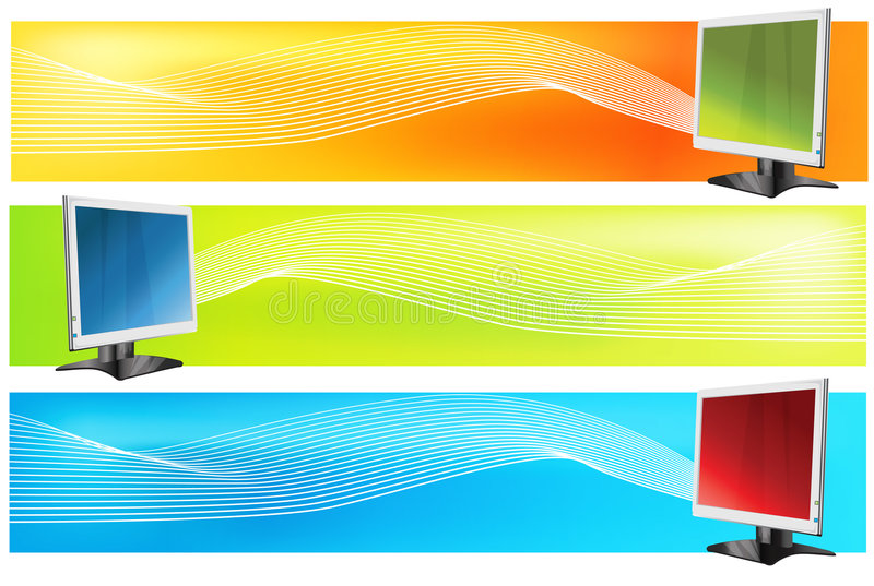 Computer. Vector abstract computer book banner colourful blurred