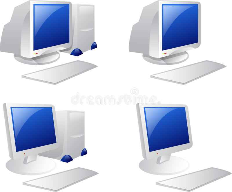 Computer. Illustration of Desktop computer over white background stock illustration