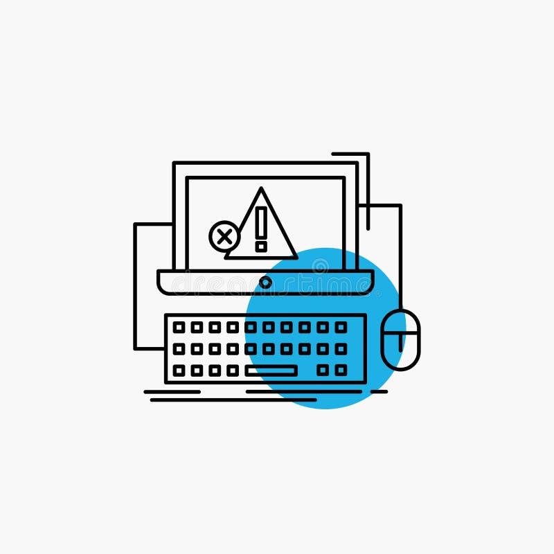 Computer, Absturz, Fehler, Ausfall, System Linie Ikone lizenzfreie abbildung