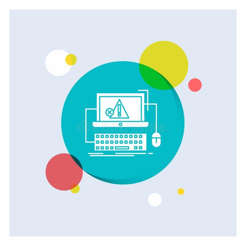 Computer, Absturz, Fehler, Ausfall, System weiße Glyph-Ikonen-bunter Kreis-Hintergrund stock abbildung