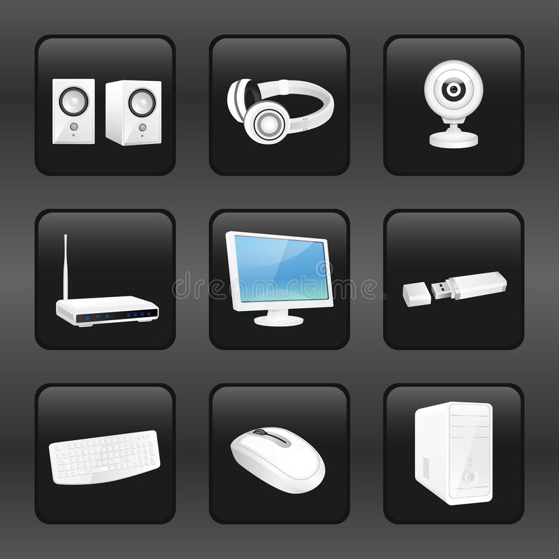 Computer and accessories icons royalty free illustration
