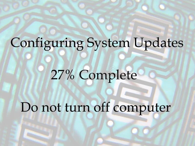 Computer aktualisiert Mitteilung lizenzfreies stockfoto