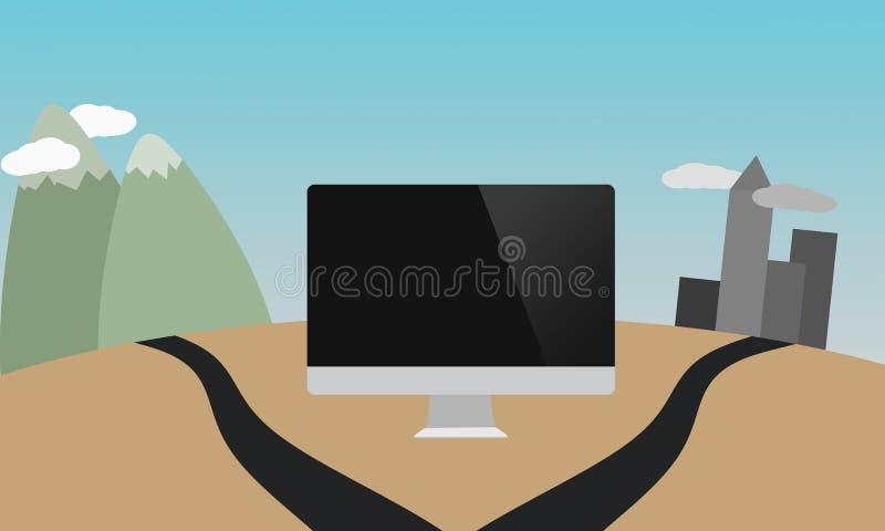 Computer all'strade trasversali illustrazione vettoriale