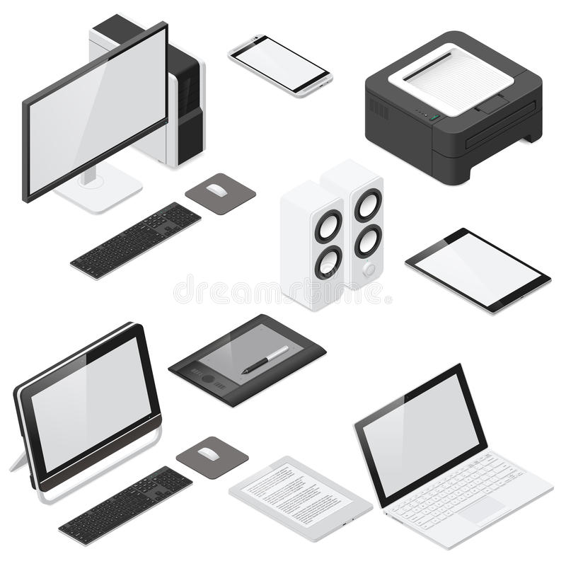Free Computer And Office Devices Detailed Isometric Icon Set Royalty Free Stock Photography - 59697547
